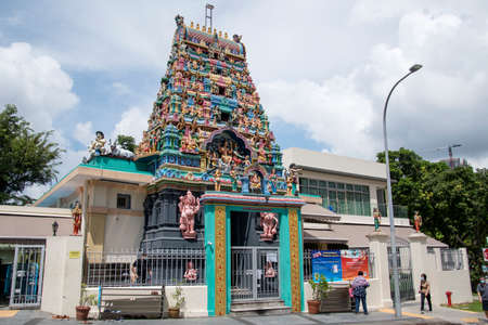 Singapore- 20 Nov, 2020: View of the Sri Mariamman Hindu Temple in Chinatown. Sri Mariamman Temple (established in 1827) is the oldest temple in Singapore. Editorial