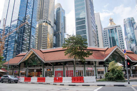 Singapore- 20 Nov, 2020: View of  Lau Pa Sat Market in Singapore.It is a popular catering, popular food court hawker center. Is a national historic landmark of Singapore.