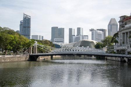 Singapore- 20 Nov, 2020: The historic Cavenagh Bridge over the Singapore River