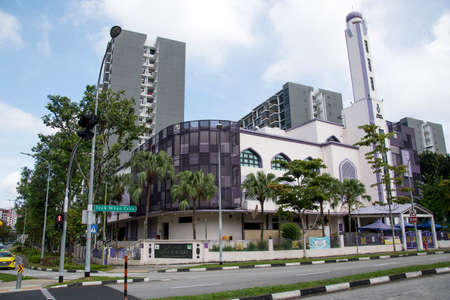 Singapore- 14 Nov, 2020: View of the Al-Khair Mosque is a mosque in Choa Chu Kang, Singapore. It was founded in the early 1960s