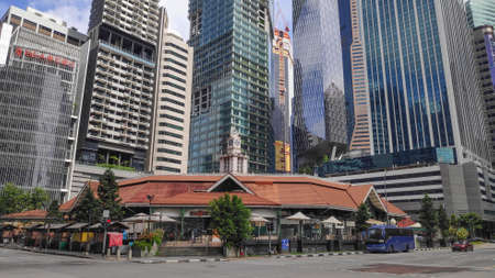 Singapore- 20 Nov, 2020: View of  Lau Pa Sat  Market in Singapore.It is a popular catering, popular food court hawker center. Is a national historic landmark of Singapore. Editorial