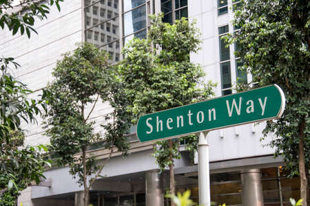Singapore- 20 Nov, 2020: Road sign of Shenton way in Singapore. Shenton Way is a major trunk road in Singapore's Central Area Editorial