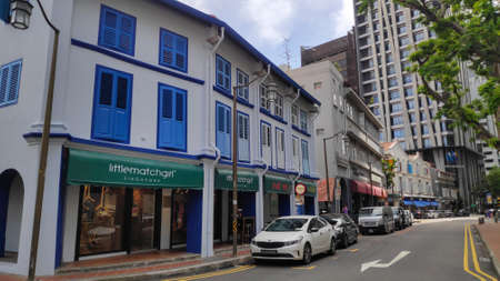 Singapore- 20 Nov, 2020: Street view of Amoy Street in Singapore. Amoy Street is a one-way street located within Chinatown.