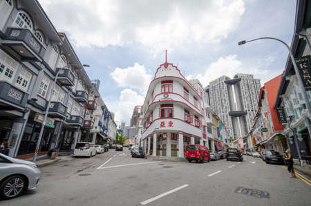 Singapore- 20 Nov, 2020: Old building in Chinatown, Singapore. Chinatown is a subzone and ethnic enclave located in the Central Area of Singapore.