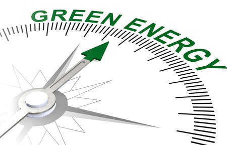 Green energy word on white compass, 3D rendering Imagens