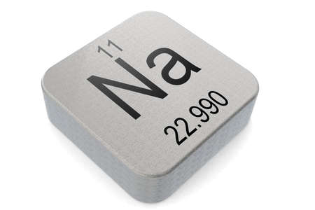 Sodium element symbol on metal block, 3D rendering