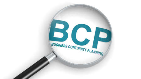 BCP, business continuity planning,  word under magnifying glass, 3d rendering
