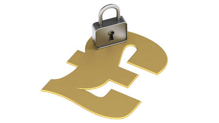 Golden pound sign with padlock, 3D rendering