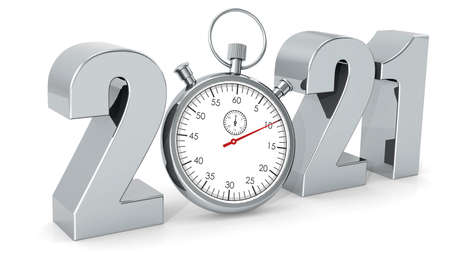 Year 2021 with stopwatch isolated, 3D rendering Stock Photo