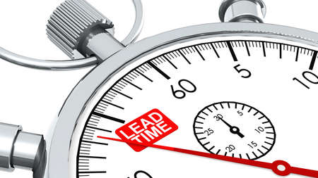 Lead time word on classic stopwatch, 3D rendering