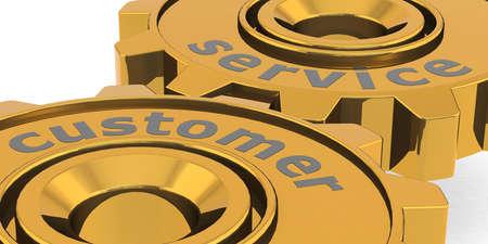 Customer service word on golden gears, 3D rendering