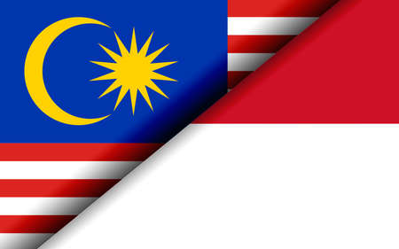 Flags of the Malaysia and Indonesia divided diagonally. 3D rendering Banco de Imagens