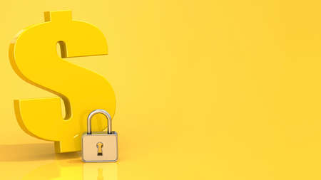 Dollar sign with padlock on yellow background, 3d rendering Stock Photo
