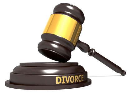 Wooden judge gavel with divorce word, 3d rendering
