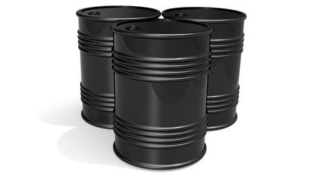 Black barrels for cruel oil or petroleum, 3D rendering