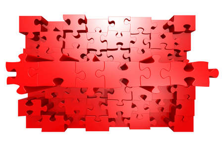 Red jigsaw puzzle with 3D effect, 3d rendering
