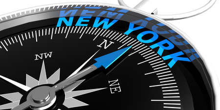 Compass needle pointing to word New York, 3d rendering