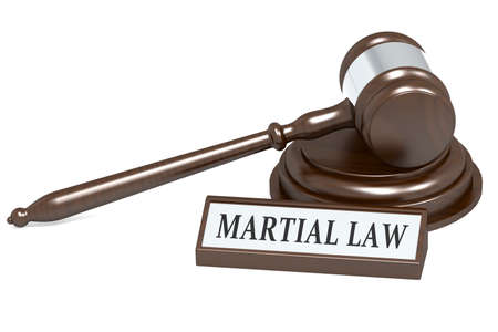 Judge gavel and martial law banner, 3D rendering