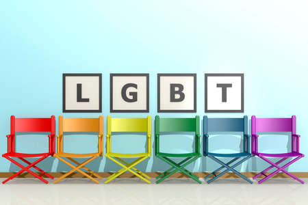 Row of chairs with LGBT concept, 3d rendering