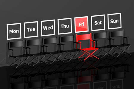 Black Friday concept with row of chairs , 3d rendering