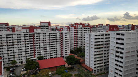 Singapore residential area with typical HDB apartments