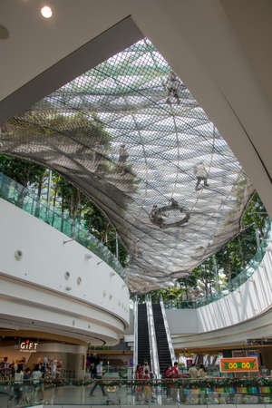Singapore - Dec 31, 20120: Interior of the Jewal Changi Airport in Singapore. Jewel Changi Airport is a nature-themed entertainment and retail complex on the landside of Changi Airport