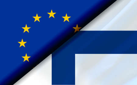Flags of the EU and Finland divided diagonally. 3D rendering Reklamní fotografie