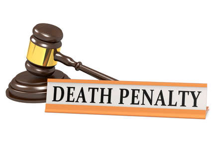 Wooden judge gavel and death penalty banner, 3d rendering