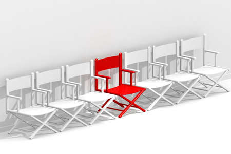 Row of chairs with one red, 3d rendering Reklamní fotografie
