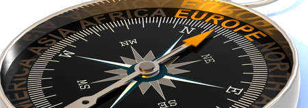 Compass needle pointing to word Europe, 3d rendering Reklamní fotografie