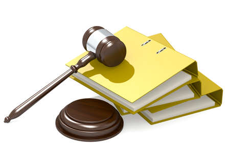 Wooden judge gavel and yellow folder, 3D rendering Reklamní fotografie