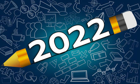 New year 2022 between pencil, business planning concept, 3d rendering
