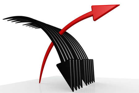 Red and black arrows with white background, 3D rendering Reklamní fotografie