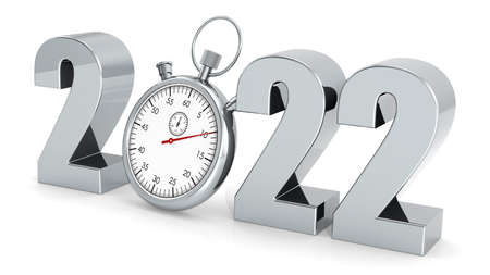 Year 2022 with stopwatch isolated, 3D rendering