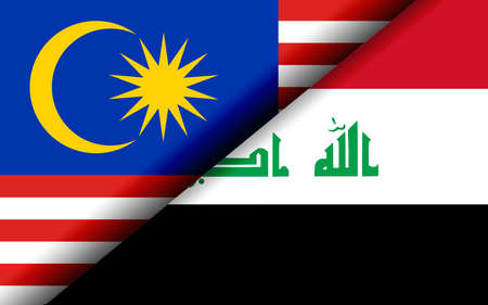 Flags of the Malaysia and Iraq divided diagonally. 3D rendering