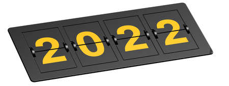 Flip board with yellow year 2022, 3D rendering