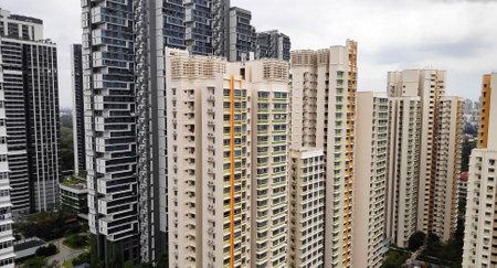 Singapore - Mar 19, 2021: Singapore center zone residential HDB building area skyline. Redakční