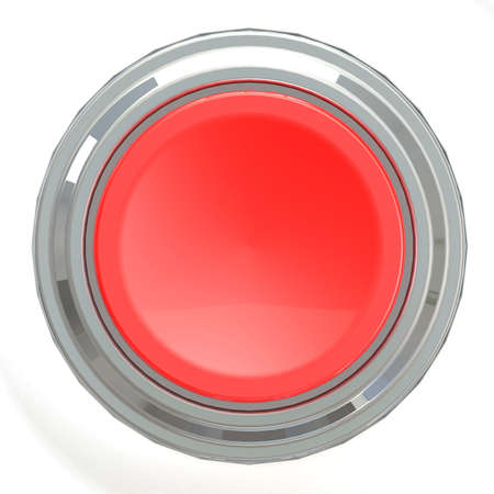 Red button with metal ring, 3D rendering
