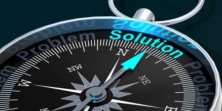 Compass needle pointing to word solution, 3d rendering