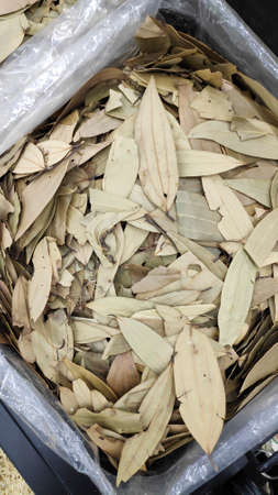 Close up of dried bay leaves on food market for sell