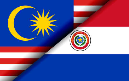 Flags of the Malaysia and Paraguay divided diagonally. 3D rendering Reklamní fotografie