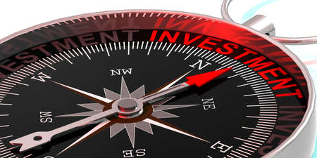 Compass needle pointing to word investment, 3d rendering