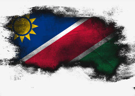 Namibia flag painted with brush on white background, 3D rendering Reklamní fotografie