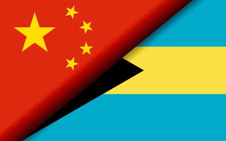 Flags of the China and Bahamas divided diagonally. 3D rendering