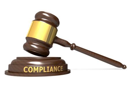 Wooden judge gavel with compliance word, 3d rendering Reklamní fotografie