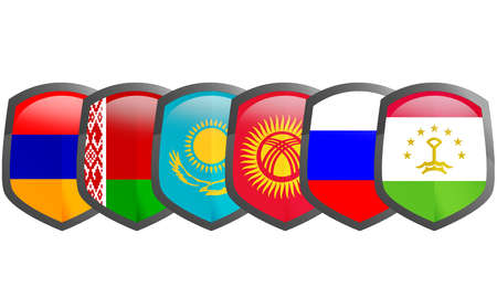 Collective Security Treaty Organization, Military alliance with 6 former Soviet republics, 3d rendering