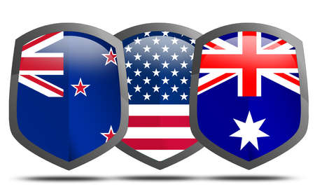 ANZUS,  joint military alliance between the United States, Australia and New Zealand, 3d rendering Reklamní fotografie