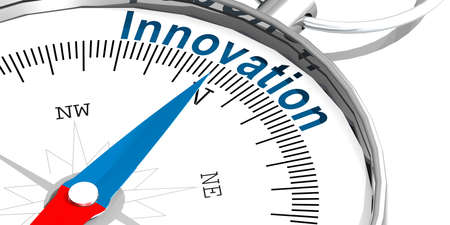 Innovation word on white compass, 3d rendering