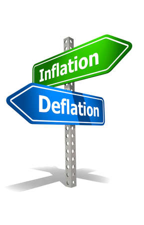Road sign with inflation and deflation word, 3d rendering