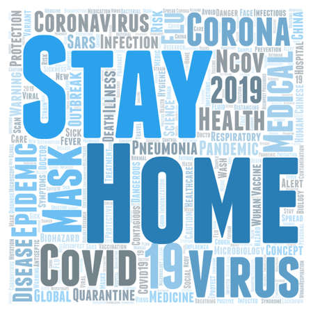 Stay home word cloud concept on white background, 3d rendering